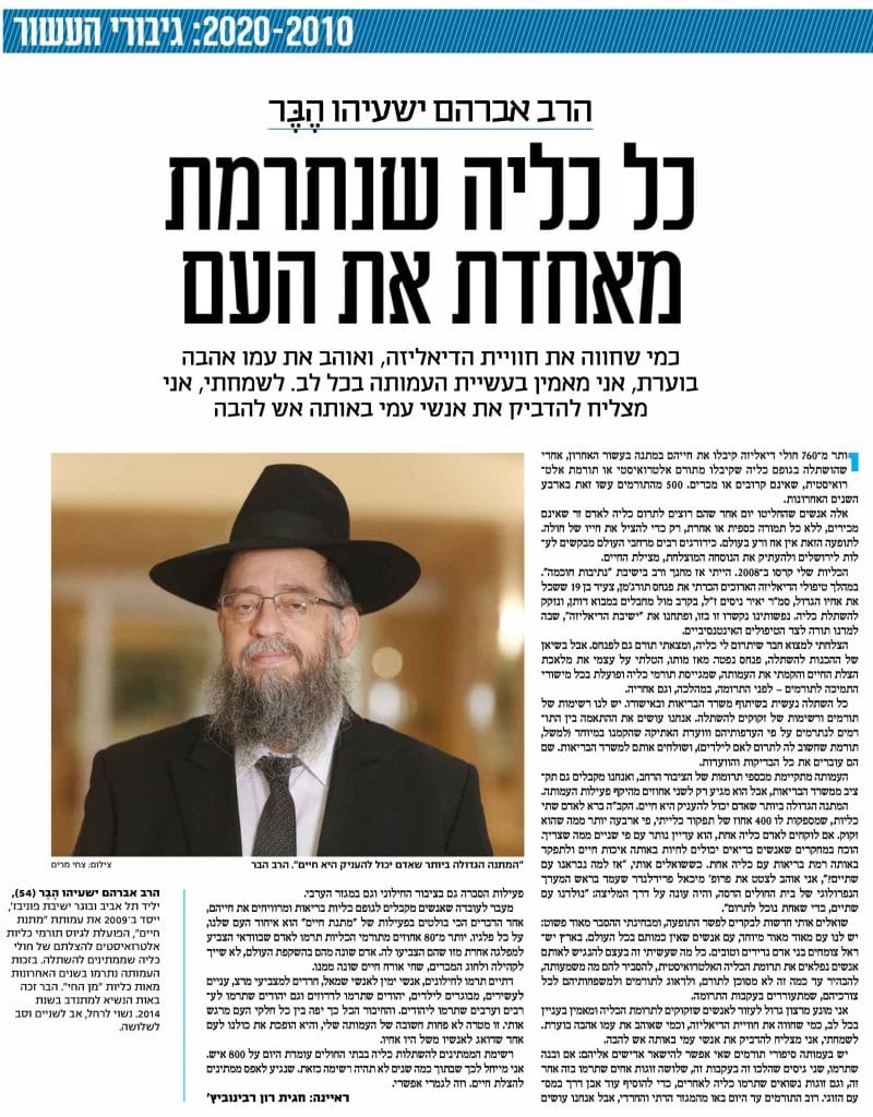 רב הבר אחד מניבורי העשור של ישראל היום